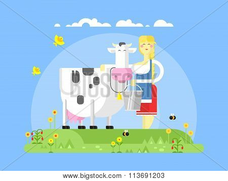 Cartoon character cow and milkmaid