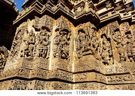 Artistic sculptures of deities on the walls of Hoysaleswara temple at Halebidu, Karnataka
