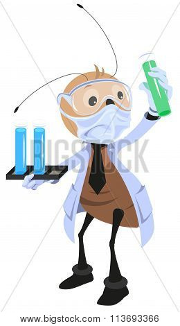 Ant scientist holding flask