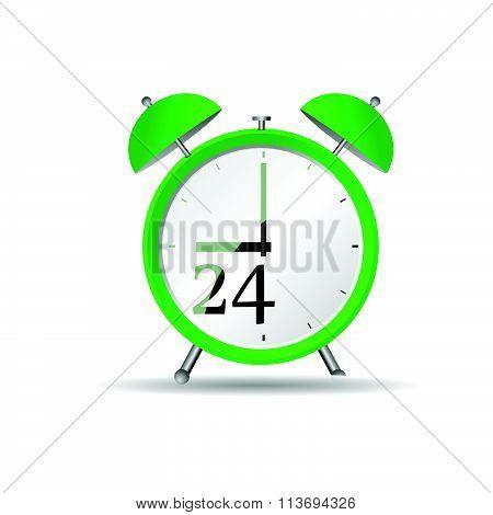 Clock Vector In Green