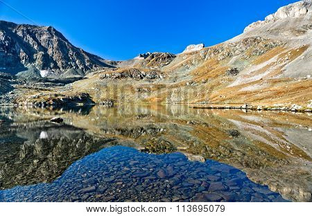 Symmetric View At The Mountain Lake