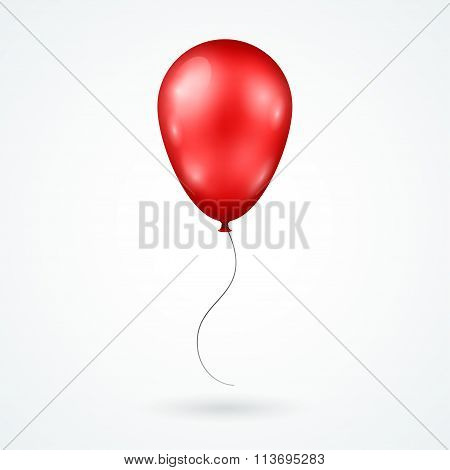 Realistic Red Balloon Isolated on White