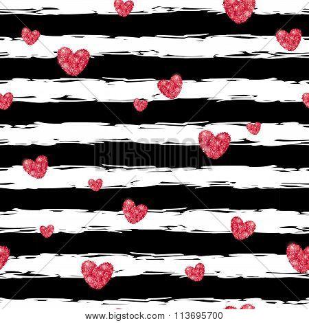 Pink glittering hearts pattern