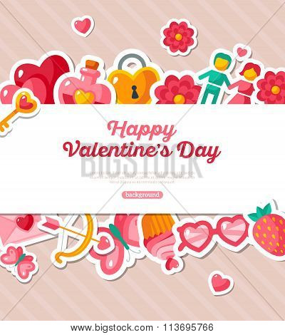 Valentine Banner with Flat Icons Border