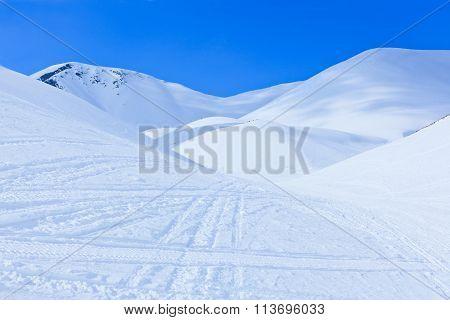 Winter Landscape With Big Snow Dunes