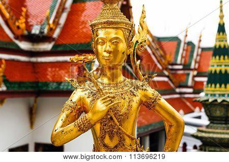 Statue Of A Kinnara In Wat Phra Kaew, Bangkok , Thailand