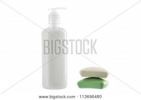 Bottle Of Liquid Soap And Two Bars Of Soap Isolated On White Background