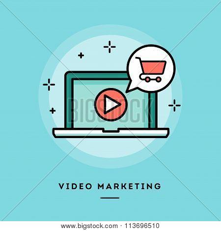 Video Marketing, Flat Design Thin Line Banner