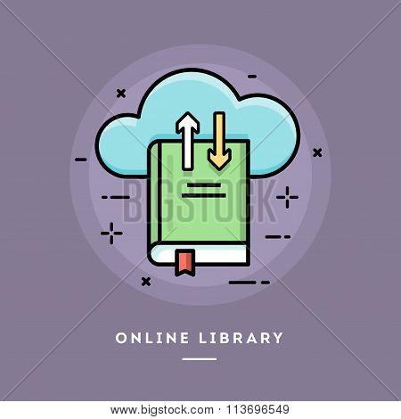 Online Library, Flat Design Thin Line Banner