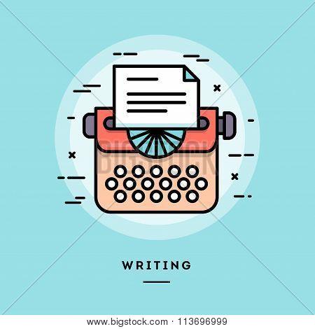 Typing Machine, Flat Design Thin Line Banner