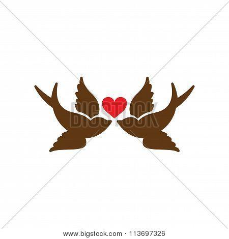 Flat web icon on white background birds heart