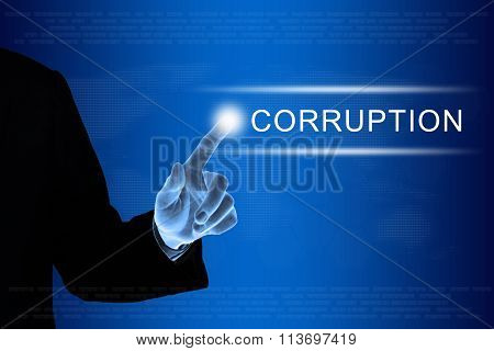 Business Hand Clicking Corruption Button On Touch Screen