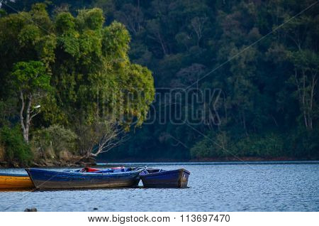 Sunrise In The Annapurnas And Boat Float In Lake
