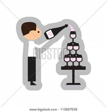 Flat web icon on white background - Pyramid wine waiter