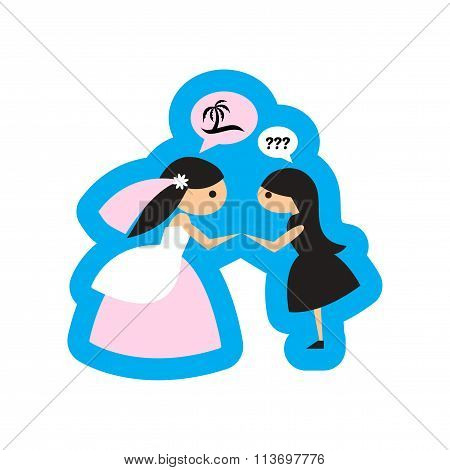 Flat web icon on white background - Bride and friend