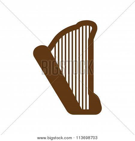 Flat web icon on white background harp