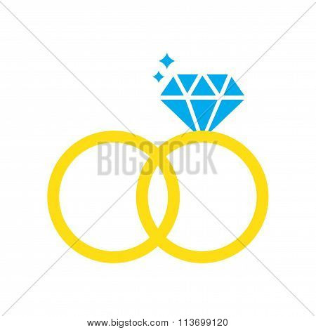 Flat web icon on white background wedding rings