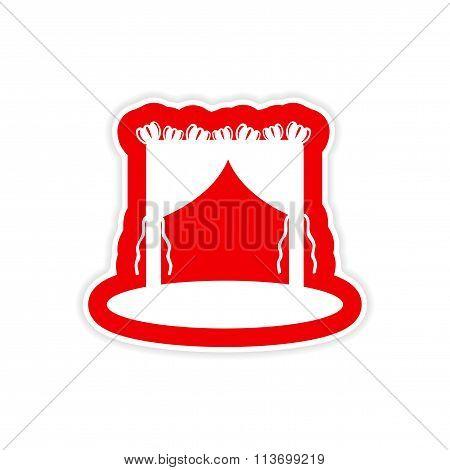 paper sticker on white background wedding arch