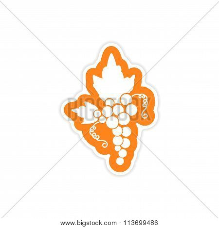 paper sticker on white background bunches of grapes