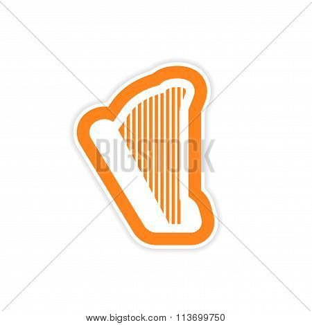 paper sticker on white background Greek harp