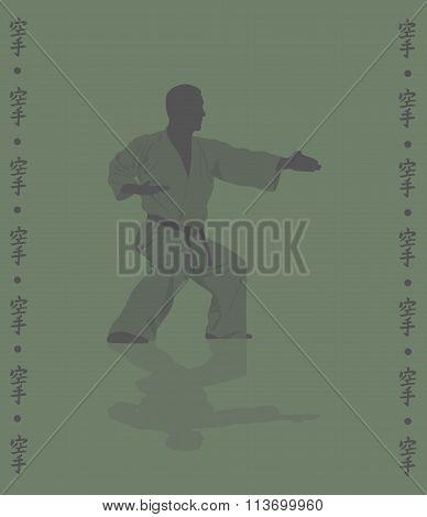Hieroglyph Of Karate And Man Demonstrating Karate.
