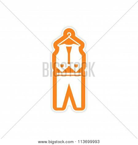 paper sticker on white background waistcoat and trousers