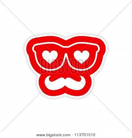 paper sticker on white background glasses mustache heart