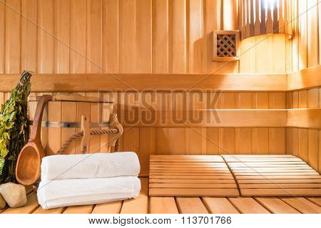 Steam Room Made Of Natural Wood And Accessories