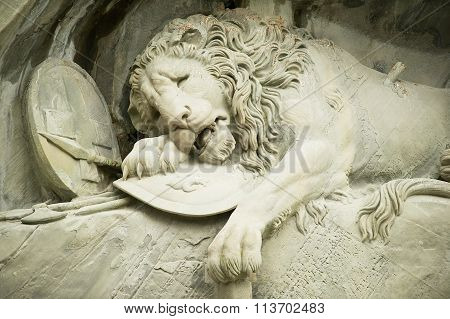 View to the Dying Lion monument in Lucerne, Switzerland