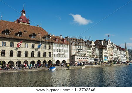View to the historical buildings in Lucerne, Switzerland.