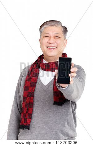 portrait old smiling Asian man in grey jumper and red scarf