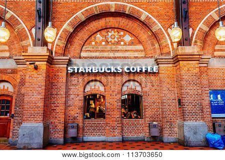 Copenhagen, Denmark - January 3, 2015: Starbucks Coffee Shop At Copenhagen Central Railway Stationin