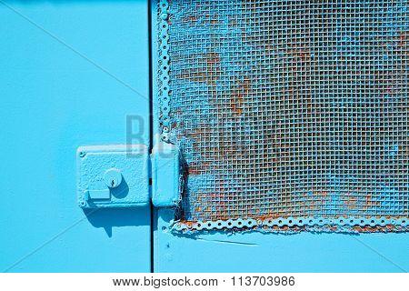 In The Old   Window Blue  Rusty Metal