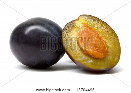 Plum Damson Cut Isolated On White Background