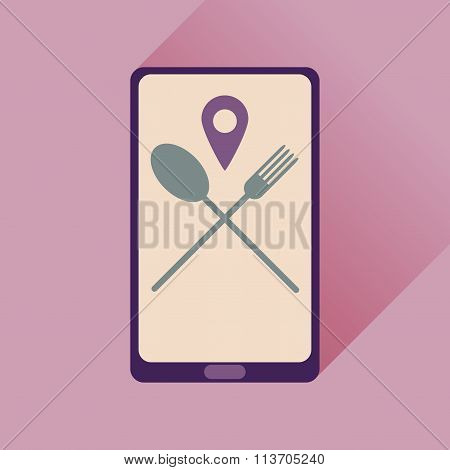 Flat web icon with long shadow mobile cafe