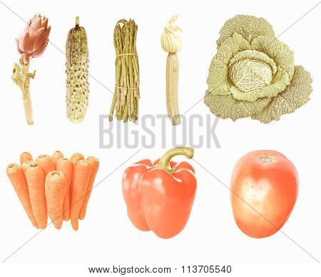 Retro Looking Vegetables Isolated