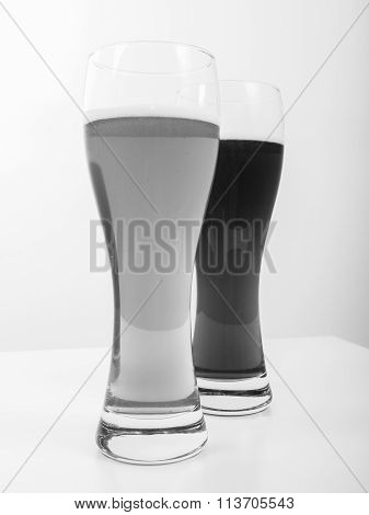 Black And White Two Glasses Of German Beer