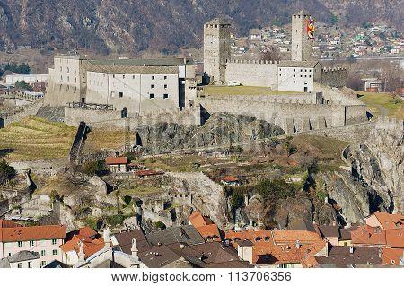 View to the Castelgrande castle in Bellinzona, Switzerland.