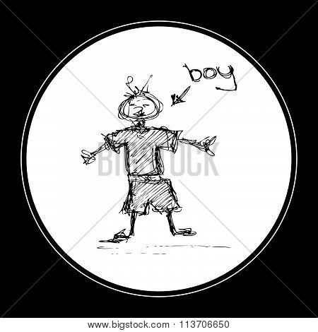 Doodle Of A Scruffy Boy