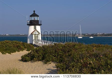 Lighthouse Guides Mariners On Nantucket Island