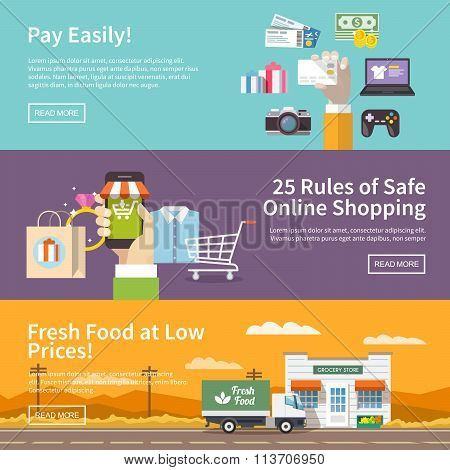 online shopping. Flat vector banners