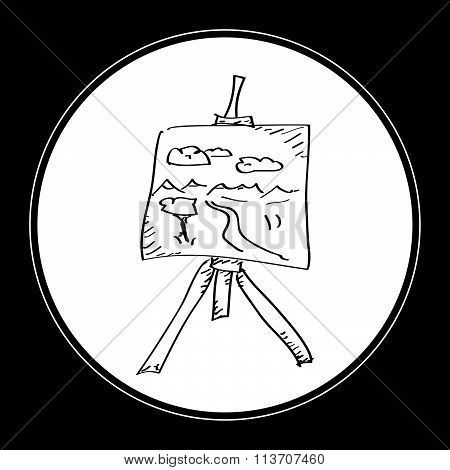 Simple Doodle Of An Artist Easel