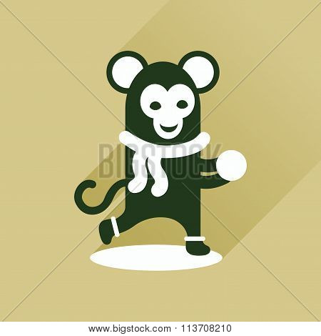 Flat icon with long shadow monkey snow