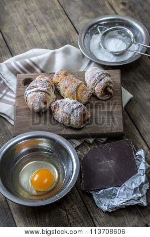 Baked Croissants Stuffed With Jam