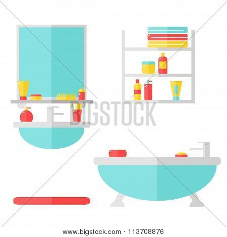 Bathroom interior with furniture and cosmetic bottles.