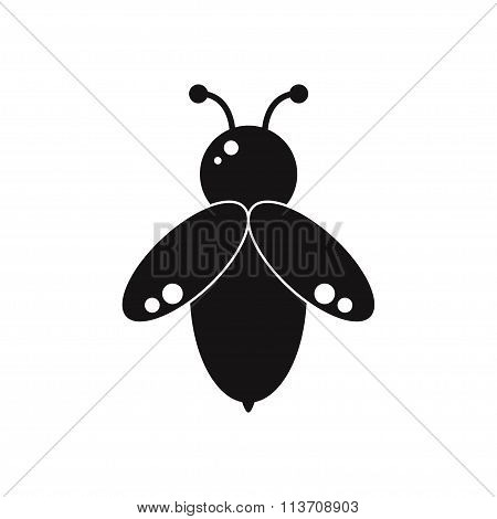 Bee isolated black silhouette icon on white background.