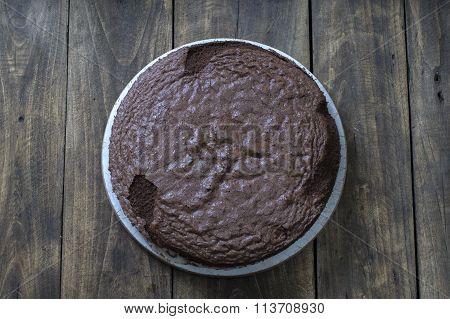Cake Base Over Wooden Background