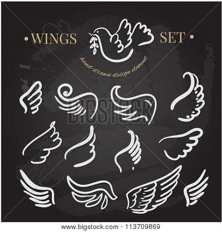 vector doodle wings set. angel wings collection