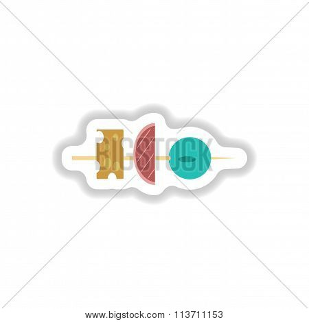 stylish paper sticker vegetables and cheese appetizer on a skewer