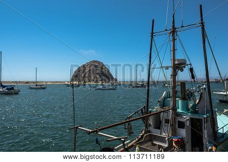 Morro Rock in the Morro Bay harbor, California